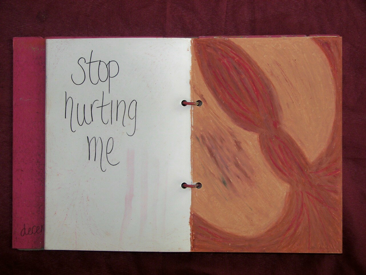 Stop Hurting Me.  Self-portrait; oil pastel on paper.