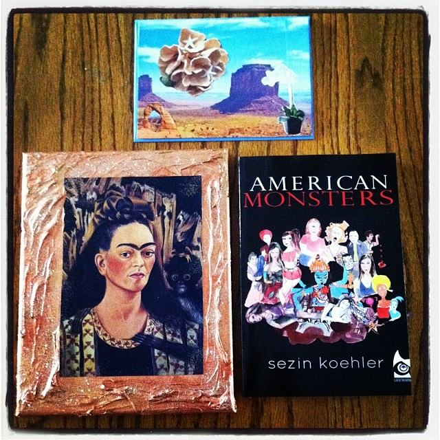 Upcycled art print + signed American Monsters Book I + homemade greeting card. $25, shipping included in the US.